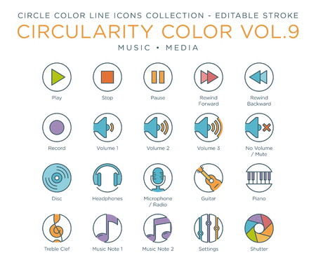 Circle Color Icons Collection - Music and Media