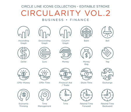 Circle Icons Collection - Business and Finance 向量圖像