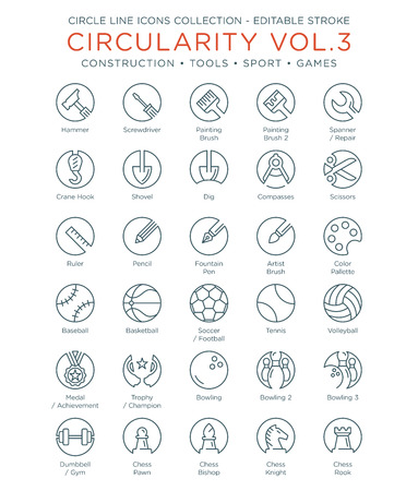 Circle Icons Collection - Construction, Tools, Sport and Games