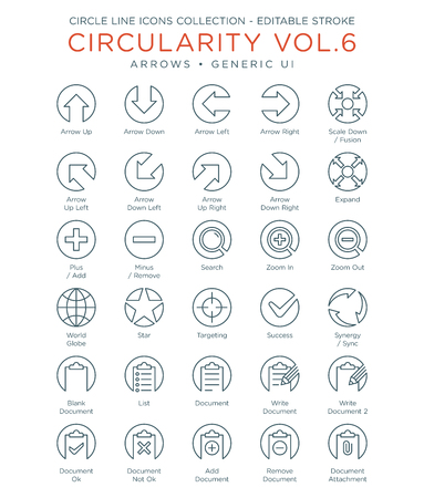 Circle Icons Collection - Generic UI and Arrows 向量圖像