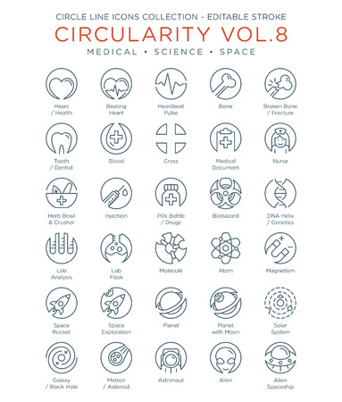 Circle Icons Collection - Medical, Science and Space