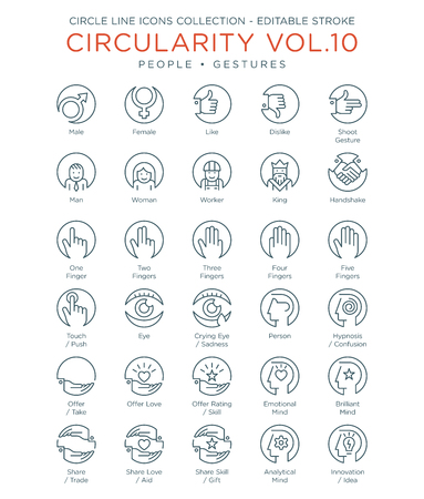 Circle Icons Collection - People and Gestures 向量圖像