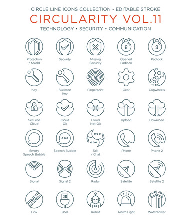 Circle Icons Collection - Technology, Security and Communication 向量圖像