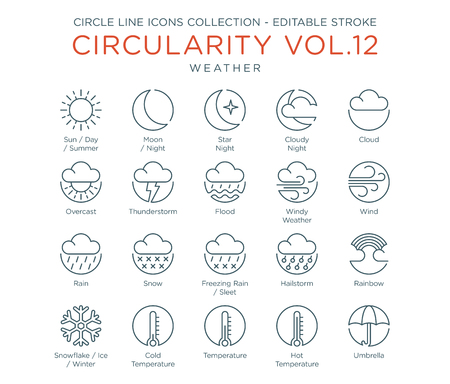 Circle Icons Collection - Weather 向量圖像