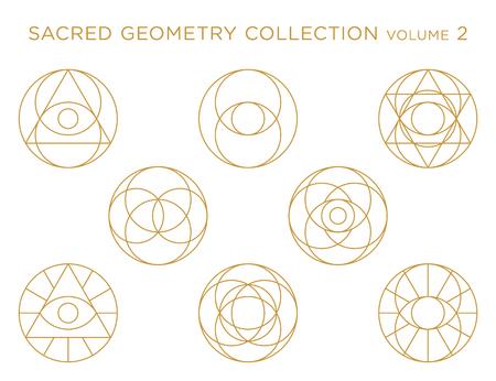 Collection de vecteur de géométrie sacrée - or isolé sur blanc