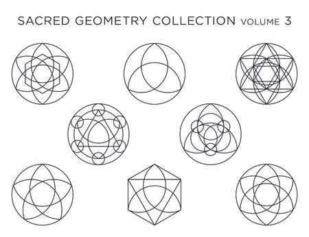 Raccolta di vettore di geometria sacra - nero isolato su bianco Vettoriali