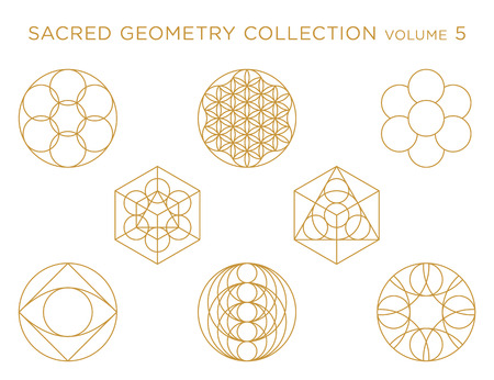 Sacred Geometry Vector Collection - Golden isolated on white