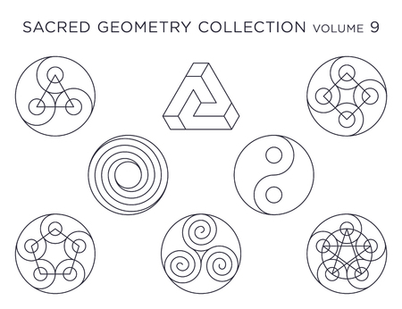 Sacred Geometry Vector Collection - Black isolated on white