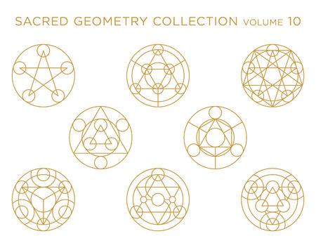 Collection de vecteur de géométrie sacrée - or isolé sur blanc Vecteurs