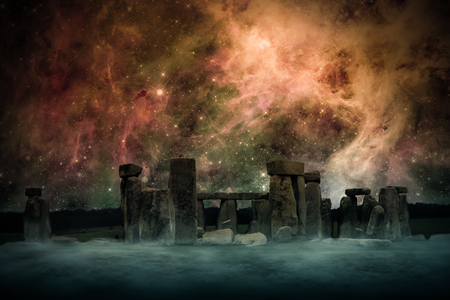 Ancient Places Backgrounds - Temple Ruins under Night Sky 版權商用圖片