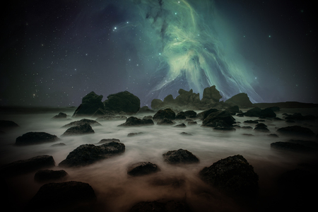 Ancient Places Backgrounds - Misty Shore under Night Sky