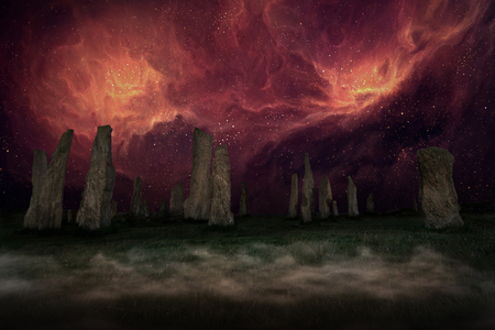 Ancient Places Backgrounds - Monolith Stones under Night Sky
