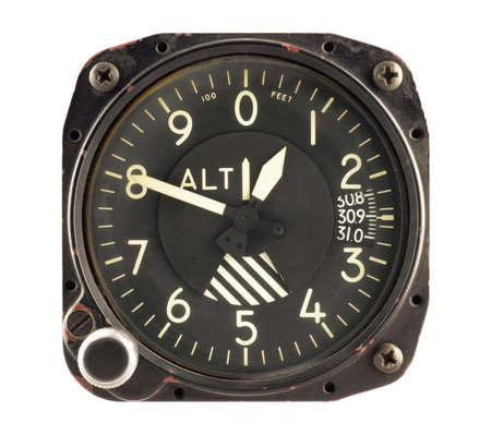 Airplane altimeter isolated in white photo