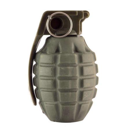 lanzamiento de bala: Granada de mano aislado en blanco