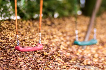 Empty swing with leaves in the autumn season