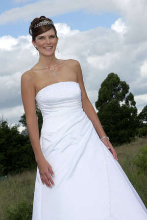 A bride in her white wedding dress Stock Photo