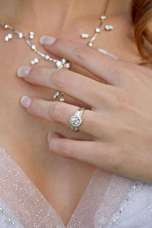A bride with a ring and necklace on  Stock Photo