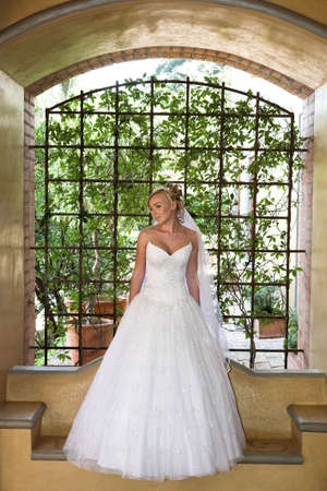A bride standing under a arch in her dress
