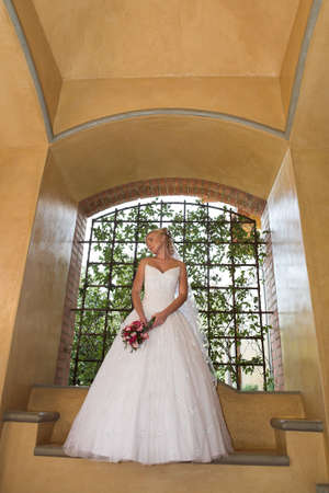 A bride standing under a arch in her dress photo