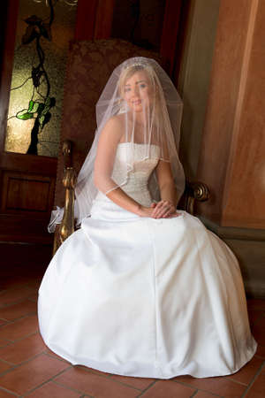 Bride sitting down with veil over her head Stock Photo - 3130185