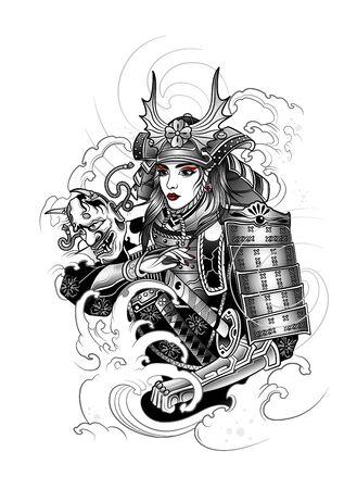 japanese samurai girl in war suit, katana