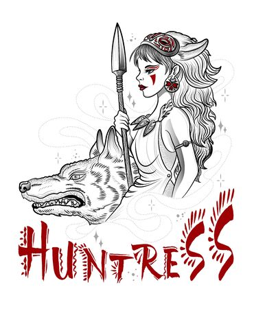 hunting goddess girl with guns and wolf