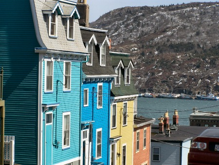 a row of house in downtown st.johns newfoundland canada