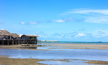 shoal: old house on the shoal of the sea Stock Photo