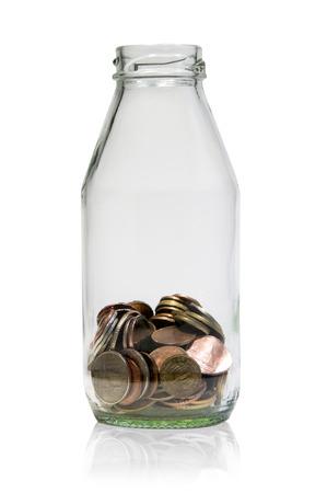 saving thailand  coins  in open bottle white background photo