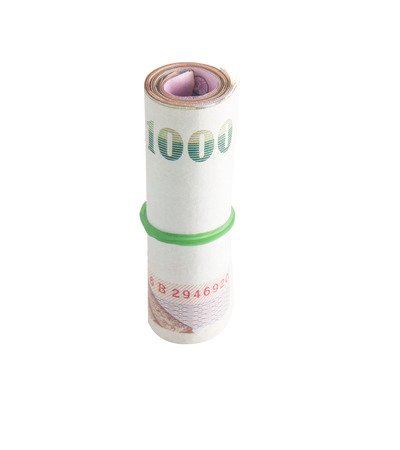 baht: Rolls of banknote of Thai currency