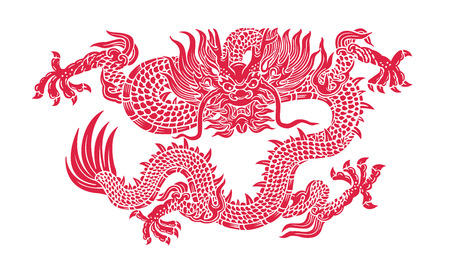 eastern zodiac: red dragon illustration  Illustration