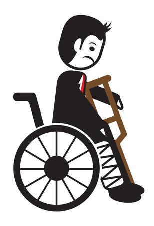 wheel chair: man on wheel broken