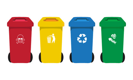 food waste: many color wheelie bins set with waste icon, illustration of waste management concept