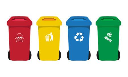 many color wheelie bins set with waste icon, illustration of waste management concept Vektorové ilustrace