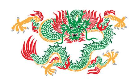 Vert vecteur de dragon chinois Banque d'images - 32458956