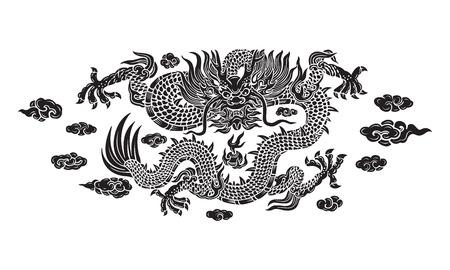 chinese new year dragon: black dragon with cloud Illustration