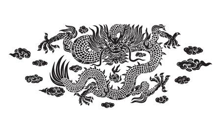 Dragon noir avec des nuages Banque d'images - 32502200