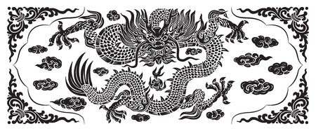 black dragon with cloud and line chinese Vector