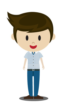 young man jeans: cute cartoon illustration of young people in stylish casual clothes