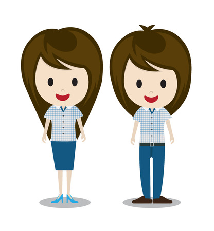 cute girl cartoon: man and woman couple Illustration