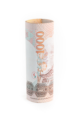 baht: 1000 Baht Rolls of banknote of Thai currency