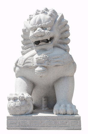 lions rock: china lion sculpture stone white background