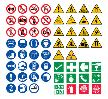 fire protection: all safety signs vector