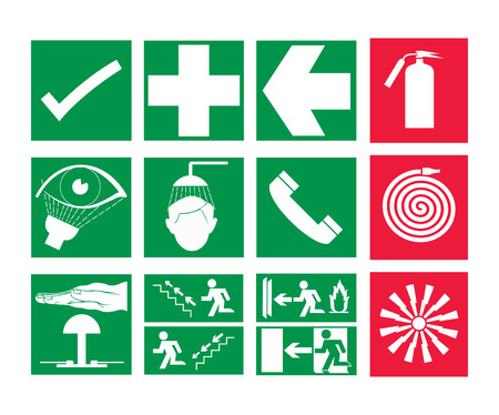green exit emergency sign: Rescue and emergency Sign & Fire safety sign vector