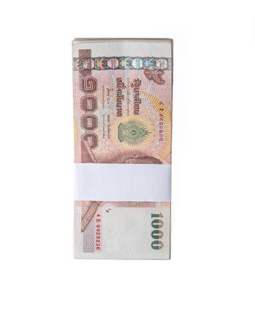 Billets en baht thaïlandais sur fond blanc Banque d'images - 38580961