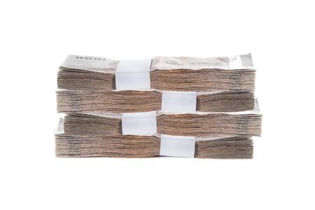 Billets en baht thaïlandais sur fond blanc Banque d'images - 38581002