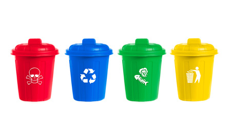 waste management: many color wheelie bins set with waste icon, illustration of waste management concept