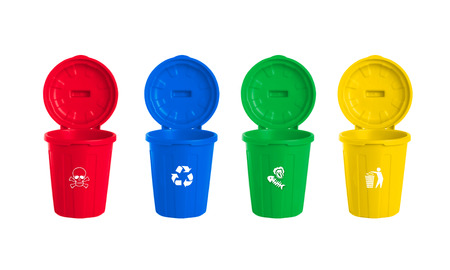 plastic waste: many color wheelie bins set, illustration of waste management concept