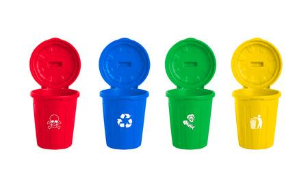 waste paper: many color wheelie bins set, illustration of waste management concept