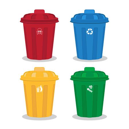 many color wheelie bins set, illustration of waste management concept Vector